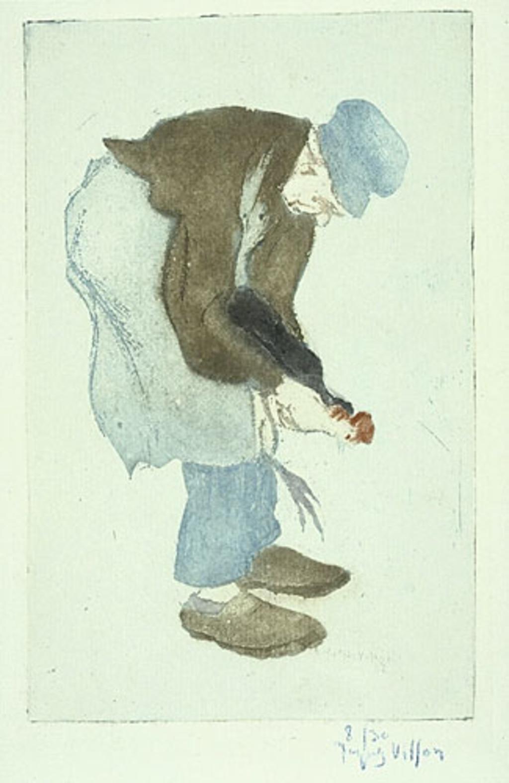 Le père Noret tuant un coq, de profil