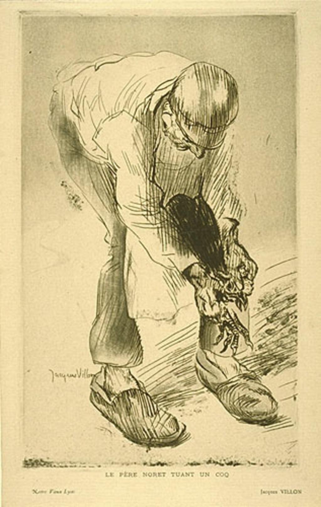 Le père Noret tuant un coq