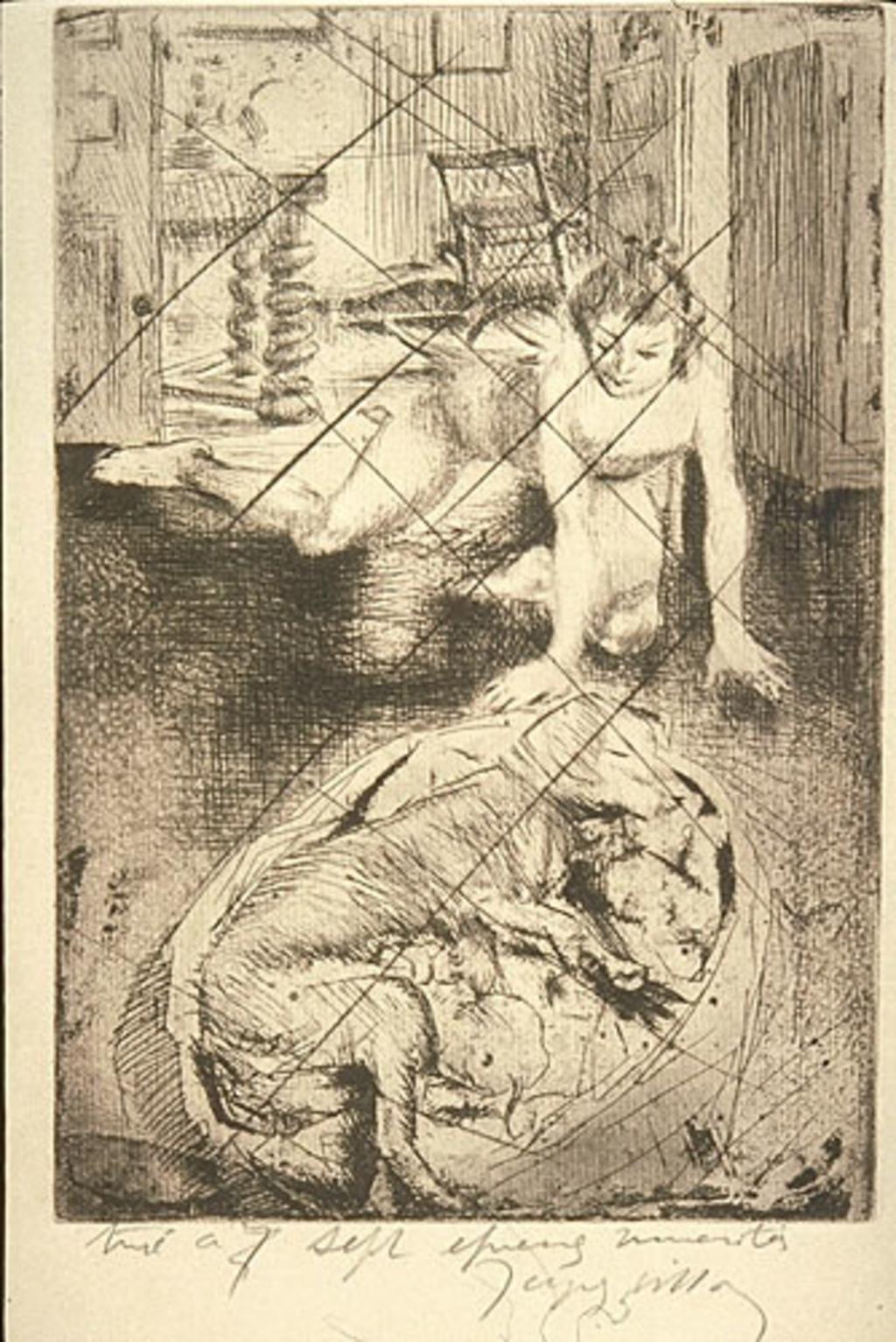 Minne jouant avec un chien dans un panier