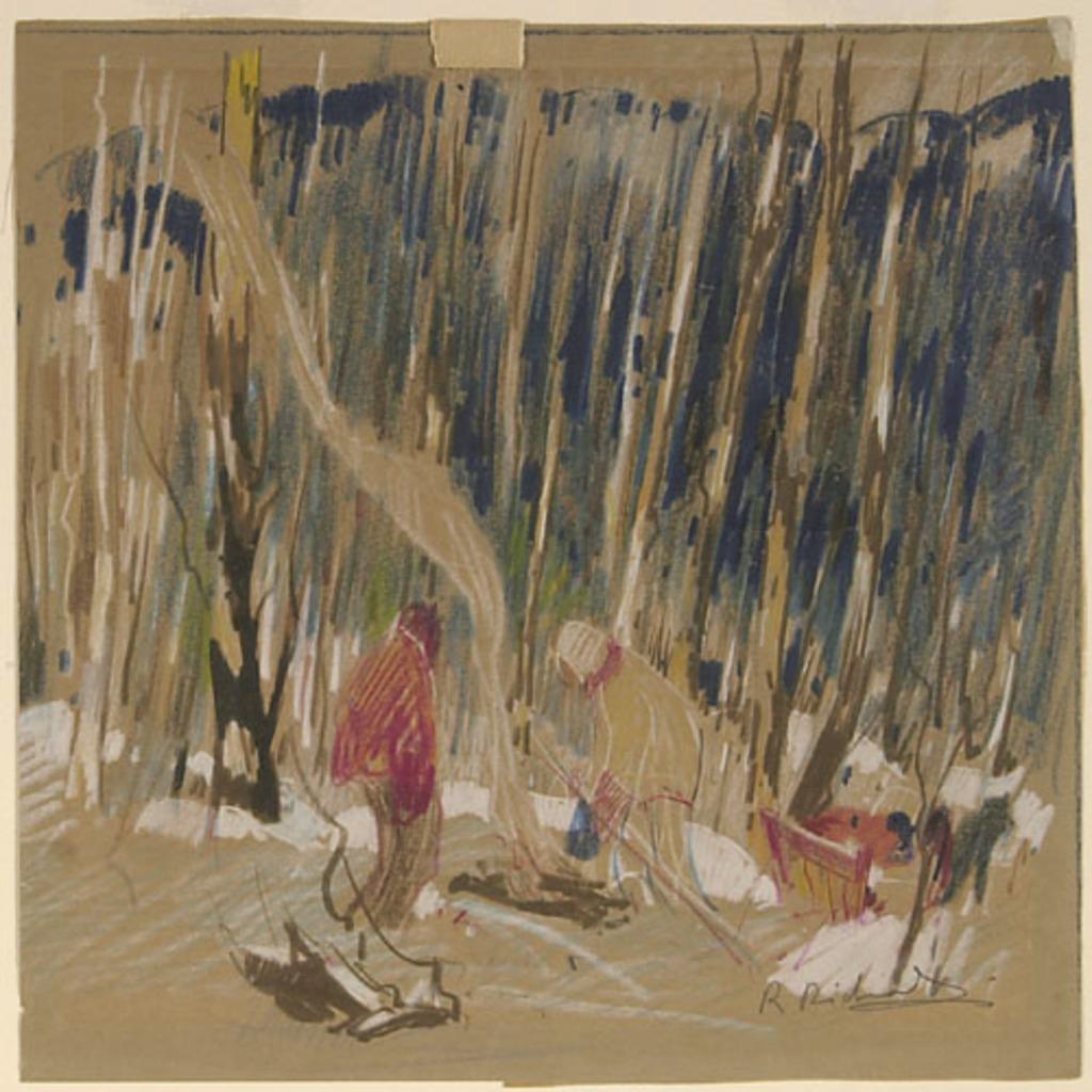 Trappeurs près du feu de camp