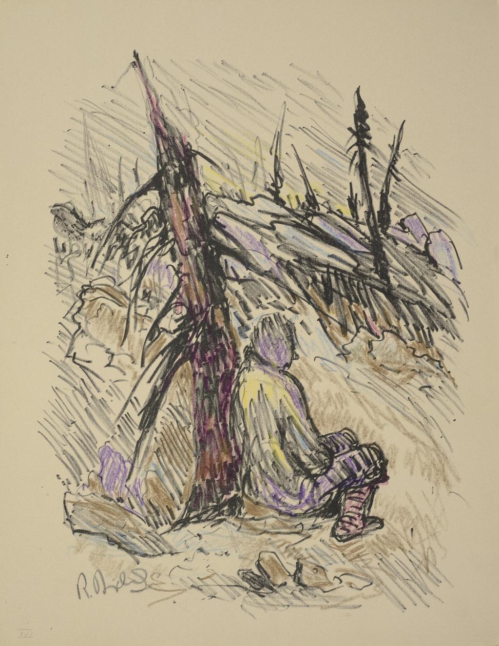 Homme adossé à un arbre, du livre d'artiste «La Montagne secrète»