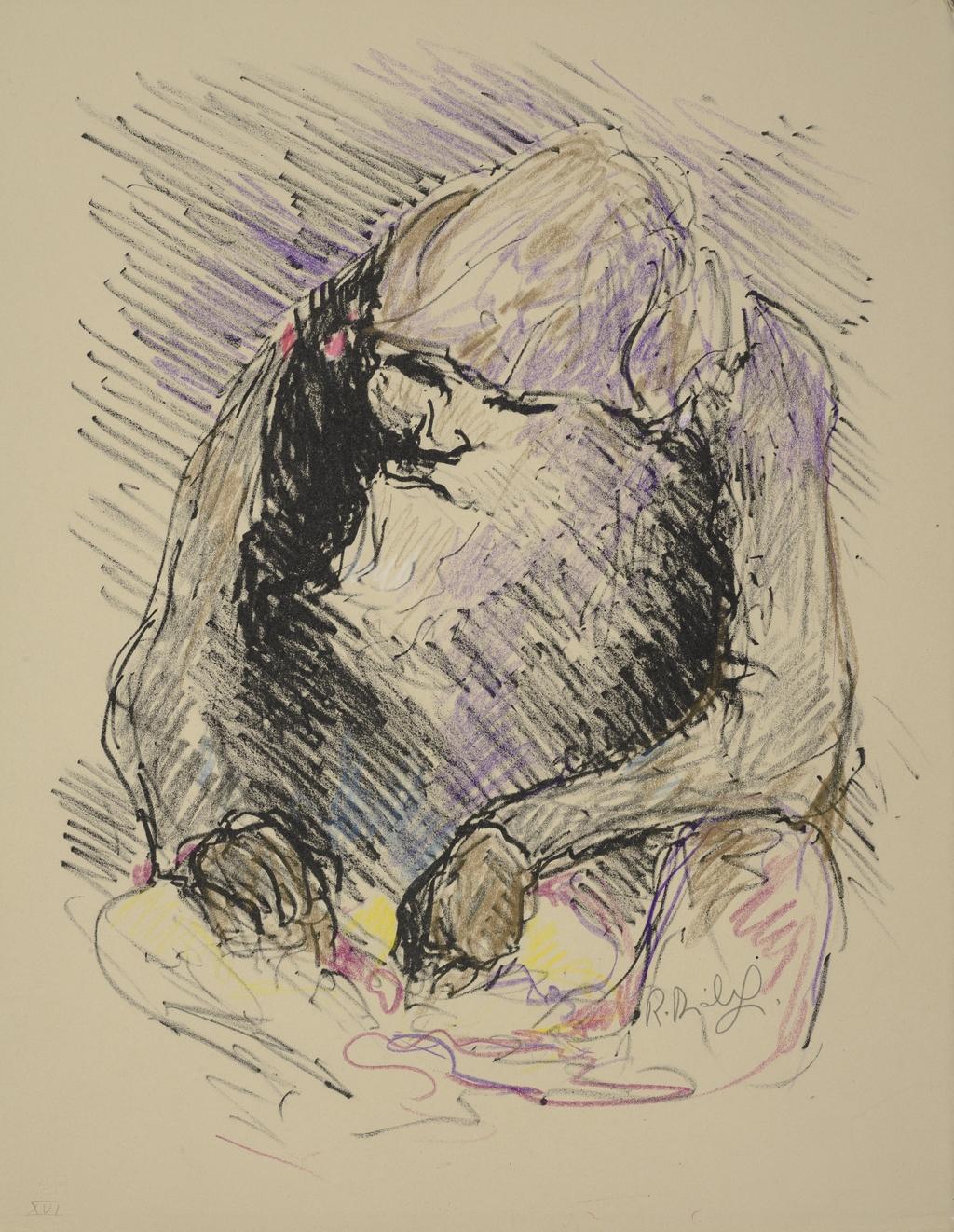Portrait de vieillard, du livre d'artiste «La Montagne secrète»