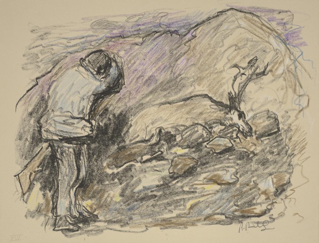 Un chasseur, du livre d'artiste «La Montagne secrète»