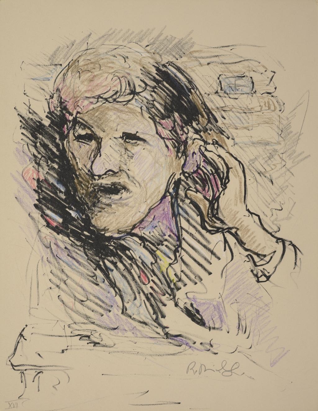 Homme tendant l'oreille, du livre d'artiste «La Montagne secrète»
