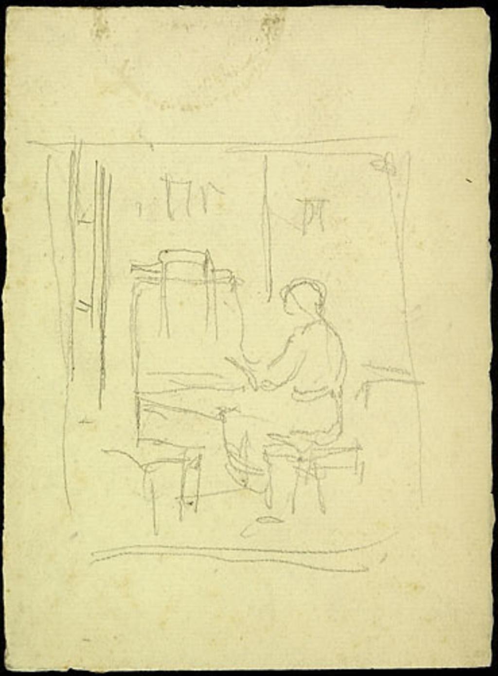 Femme assise devant un bureau