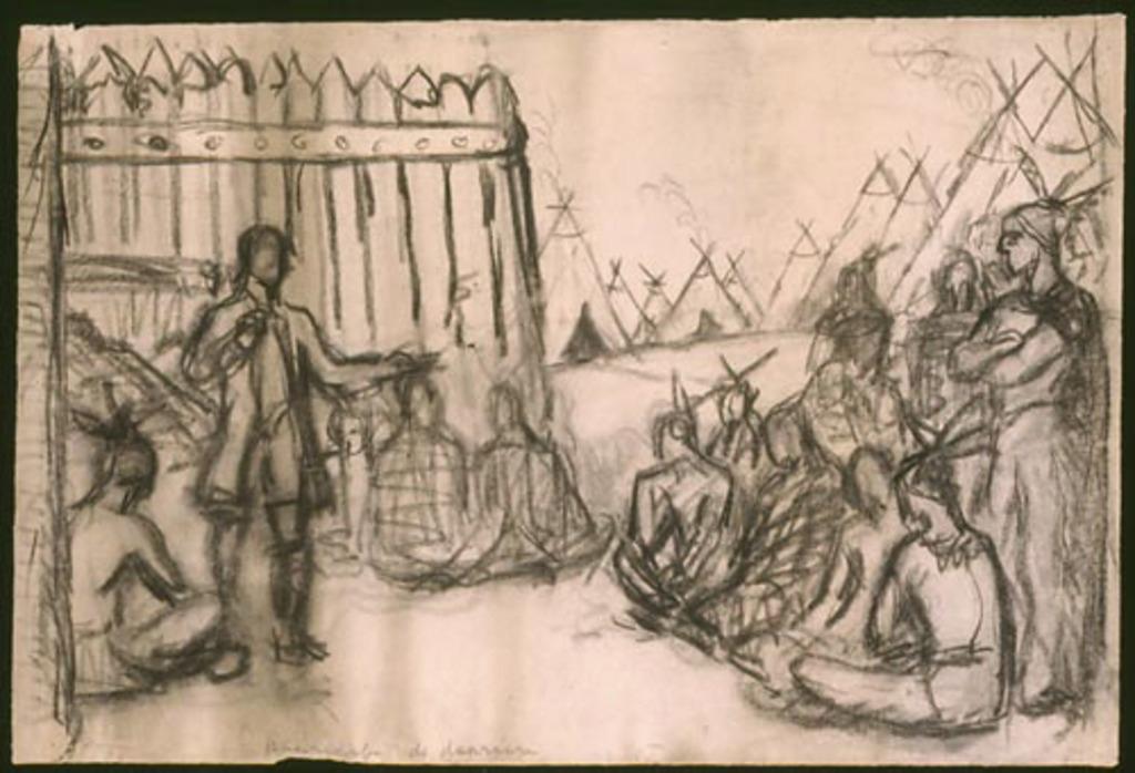 Personnage du régime français et un groupe d'Amérindiens