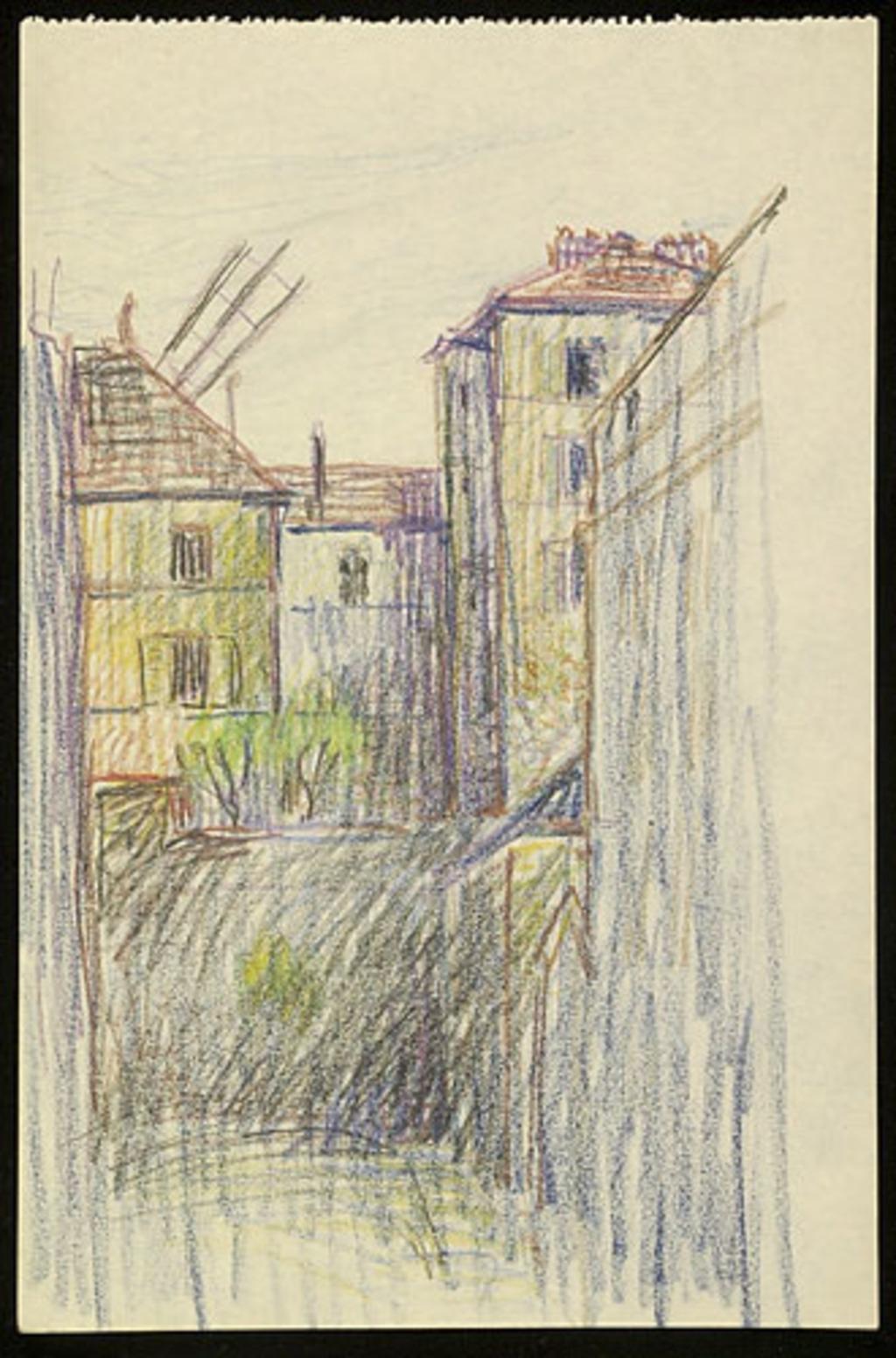 Paysage urbain avec palme de moulin à vent