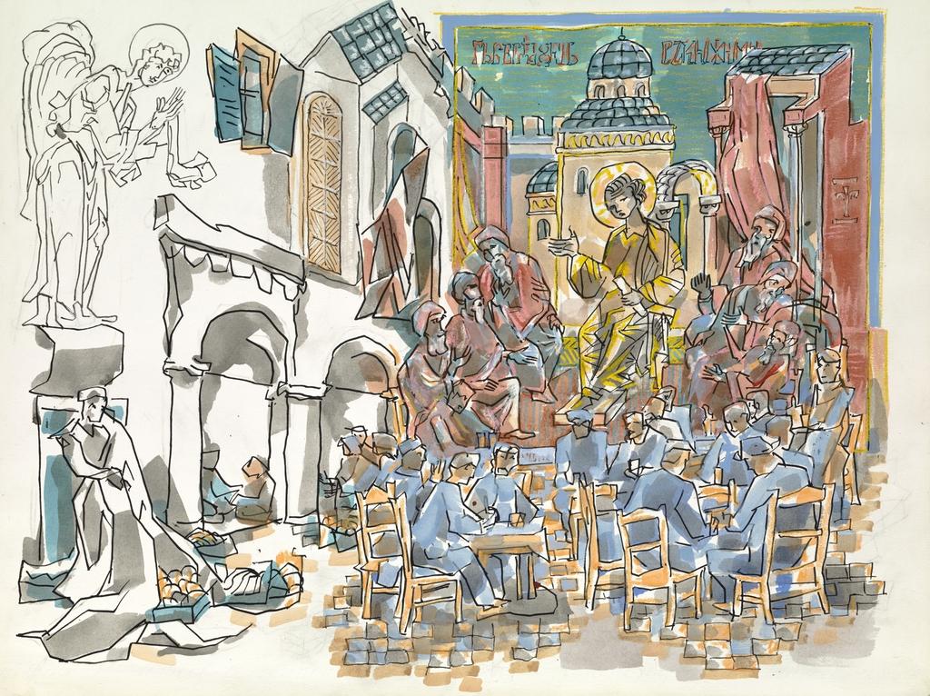 Jésus au milieu des Docteurs de l'Église avec une scène de café