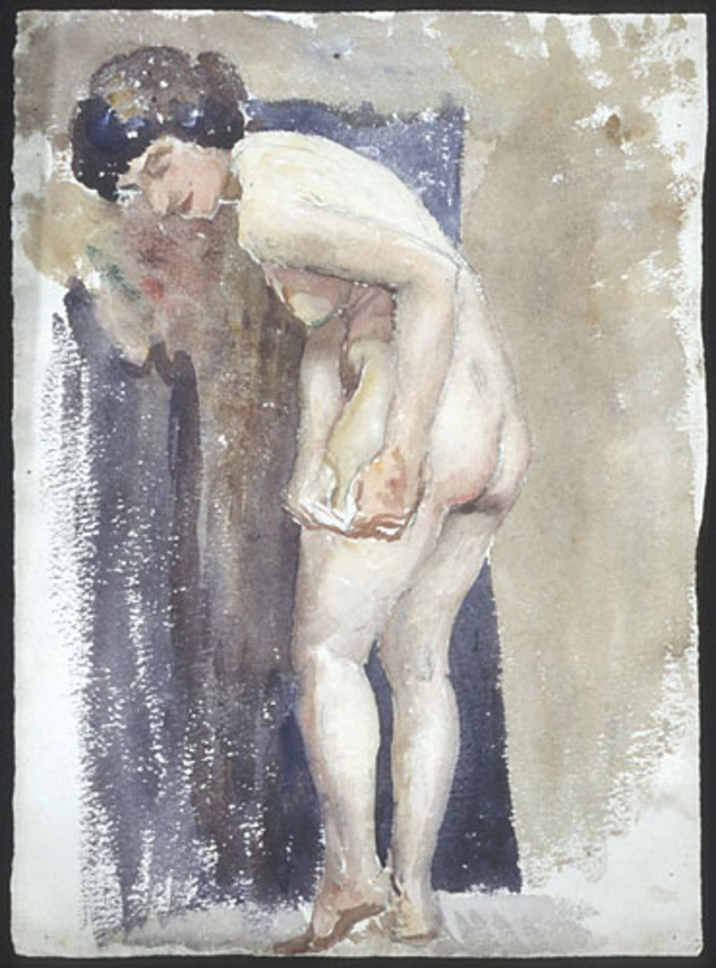 Femme nue debout, penchée vers la gauche, les deux mains sur la cuisse