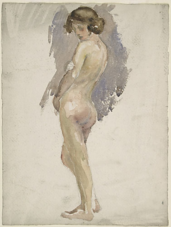 Femme nue debout, vue de dos de trois quarts