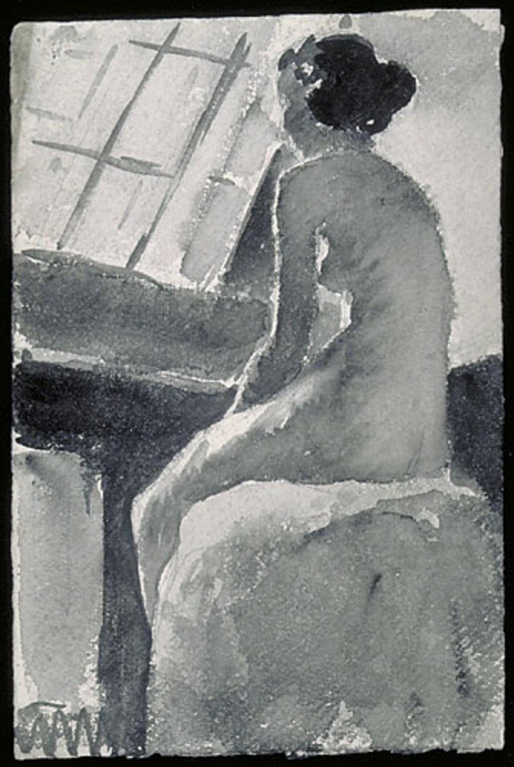 Femme nue assise dans l'atelier, vue de dos de trois quarts