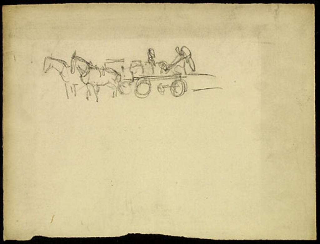 Étude de chevaux et d'une charrette