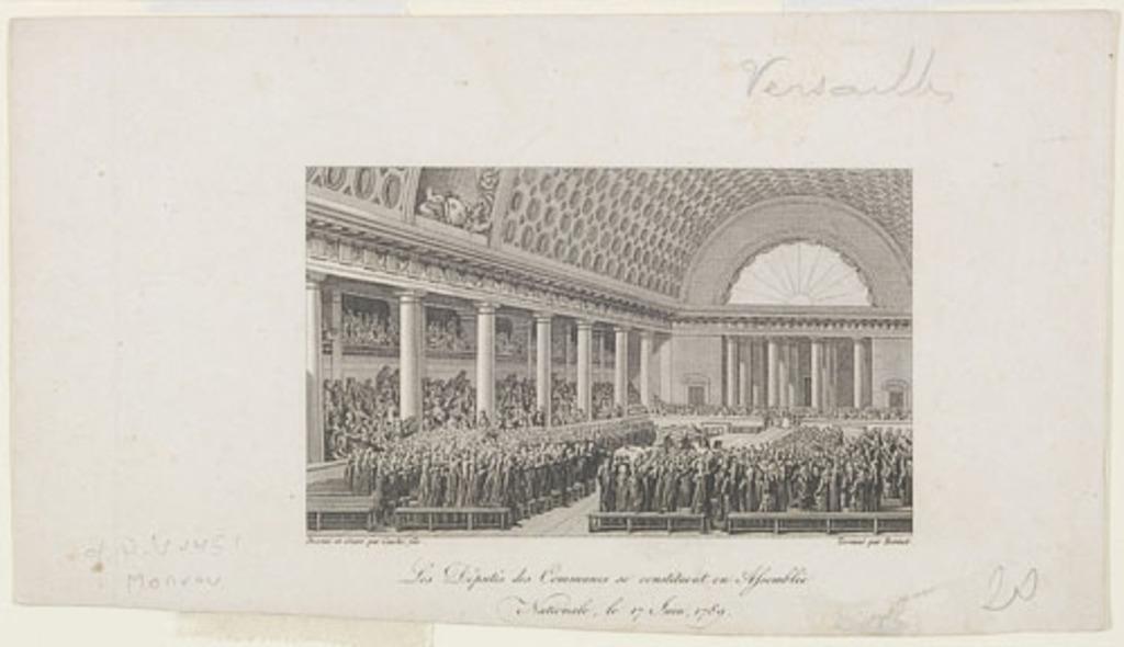 Les Députés des Communes se constituent en Assemblée Nationale, le 17 Juin 1789