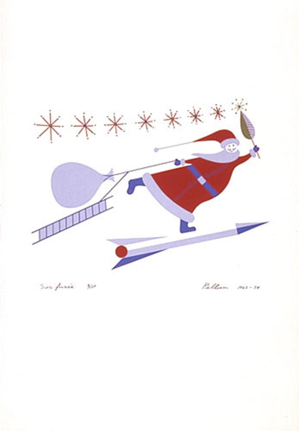 Sur fusée, du livre d'artiste «Les Pères Noëls»