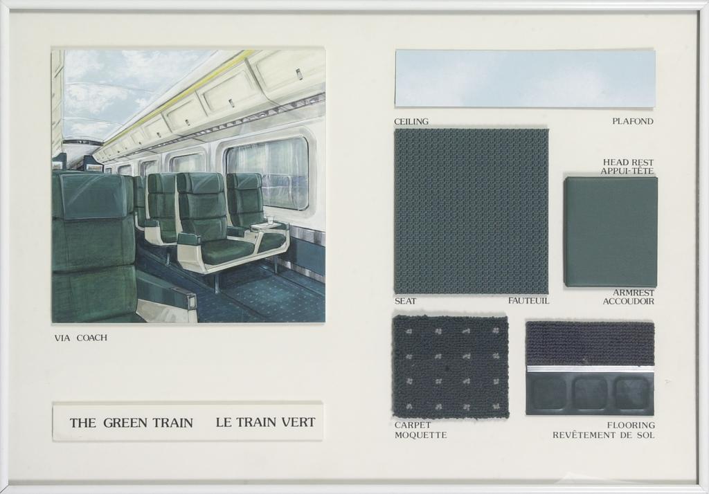Le Train vert. Maquette de présentation pour le train Via Rail dit LRC, voiture Coach