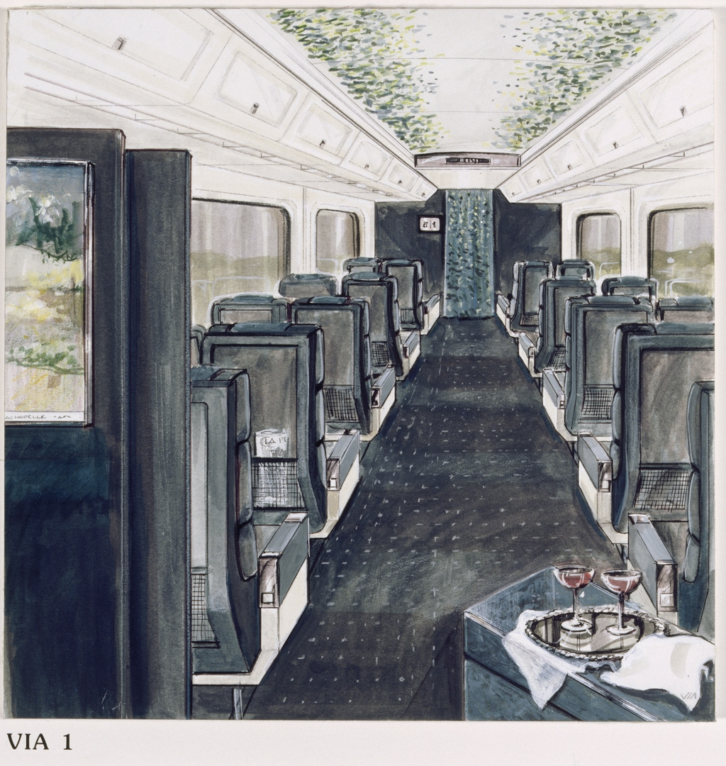 Le Train vert. Maquette de présentation pour le train Via Rail dit LRC, voiture Via I