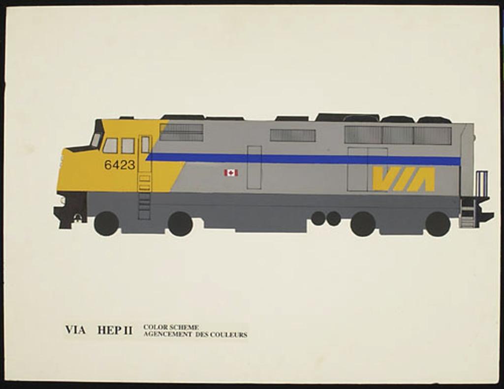 Dessin de présentation pour l'agencement des couleurs pour la locomotive du train Via Rail dit le Canadien
