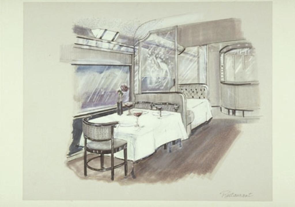 Dessin de présentation pour la voiture restaurant du train Via Rail dit le Canadien