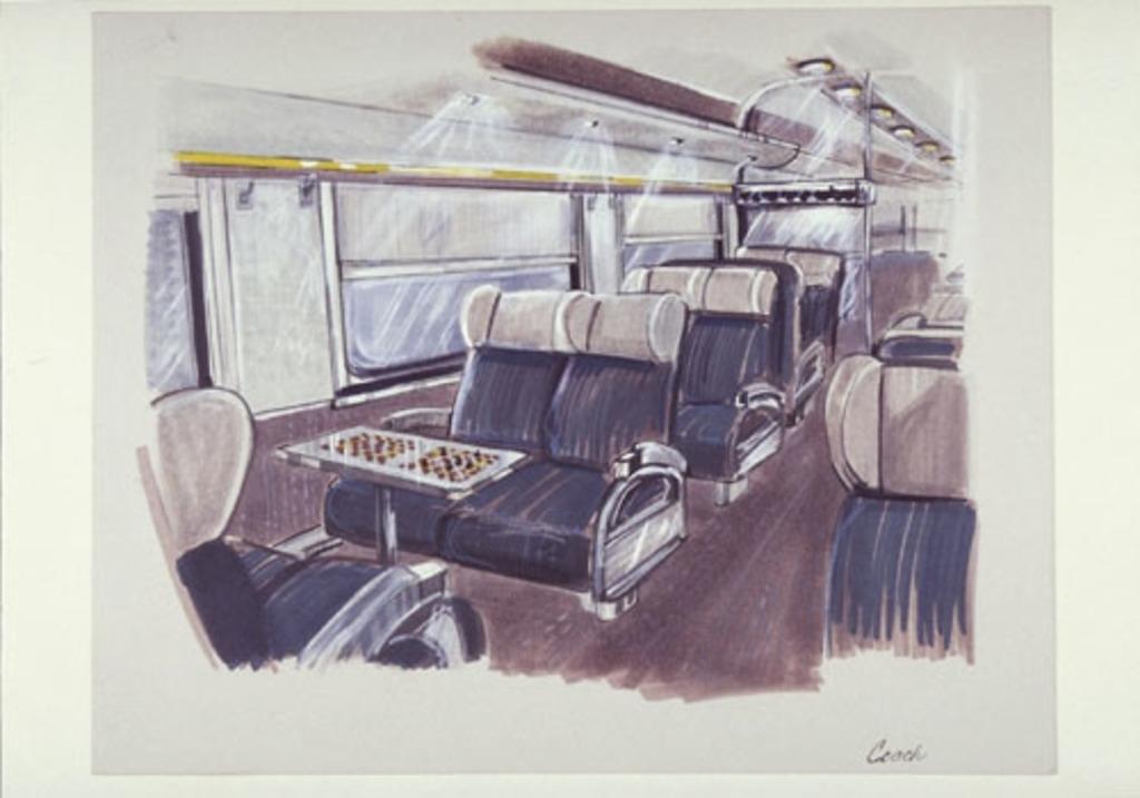 Dessin de présentation pour la voiture Coach du train Via Rail dit le Canadien