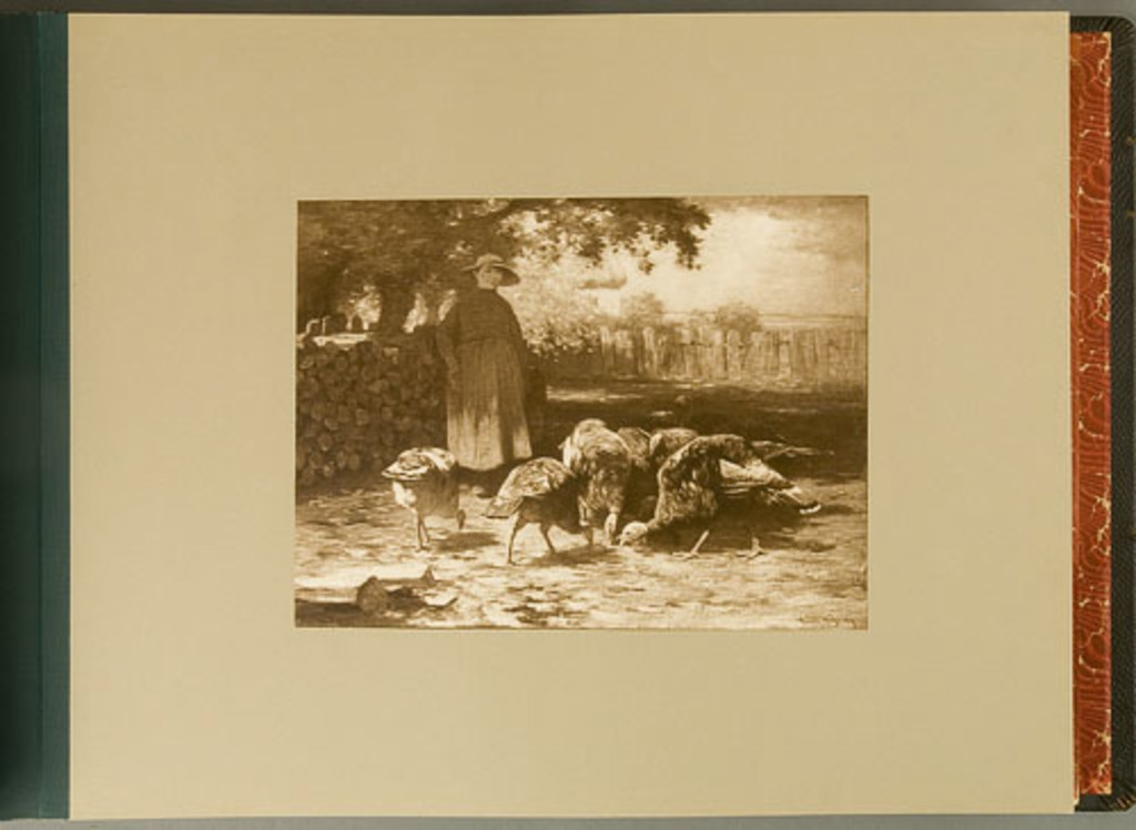 Girl Feeding Turkeys, de l'album de reproductions de peintures d'Horatio Walker