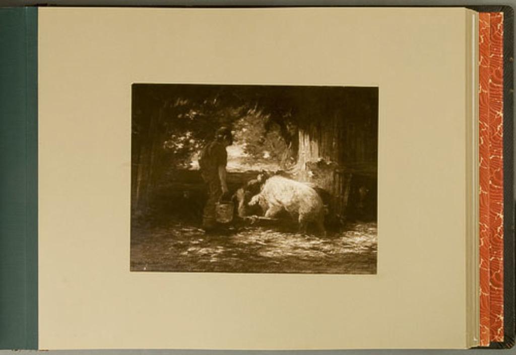 A Sty-Boy Feeding Pigs, de l'album de reproductions de peintures d'Horatio Walker