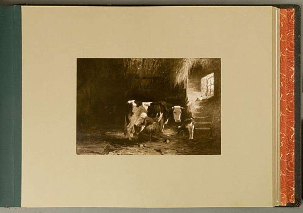 A Stable Interior-Woman Milking, de l'album de reproductions de peintures d'Horatio Walker