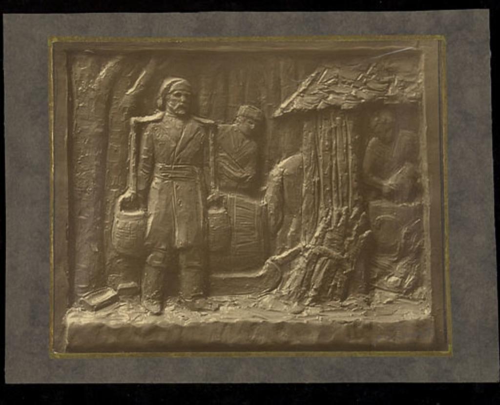 La Récolte de l'eau d'érable. Étude préliminaire en terre pour un bas-relief d'Émile Brunet destiné aux façades du Musée provincial