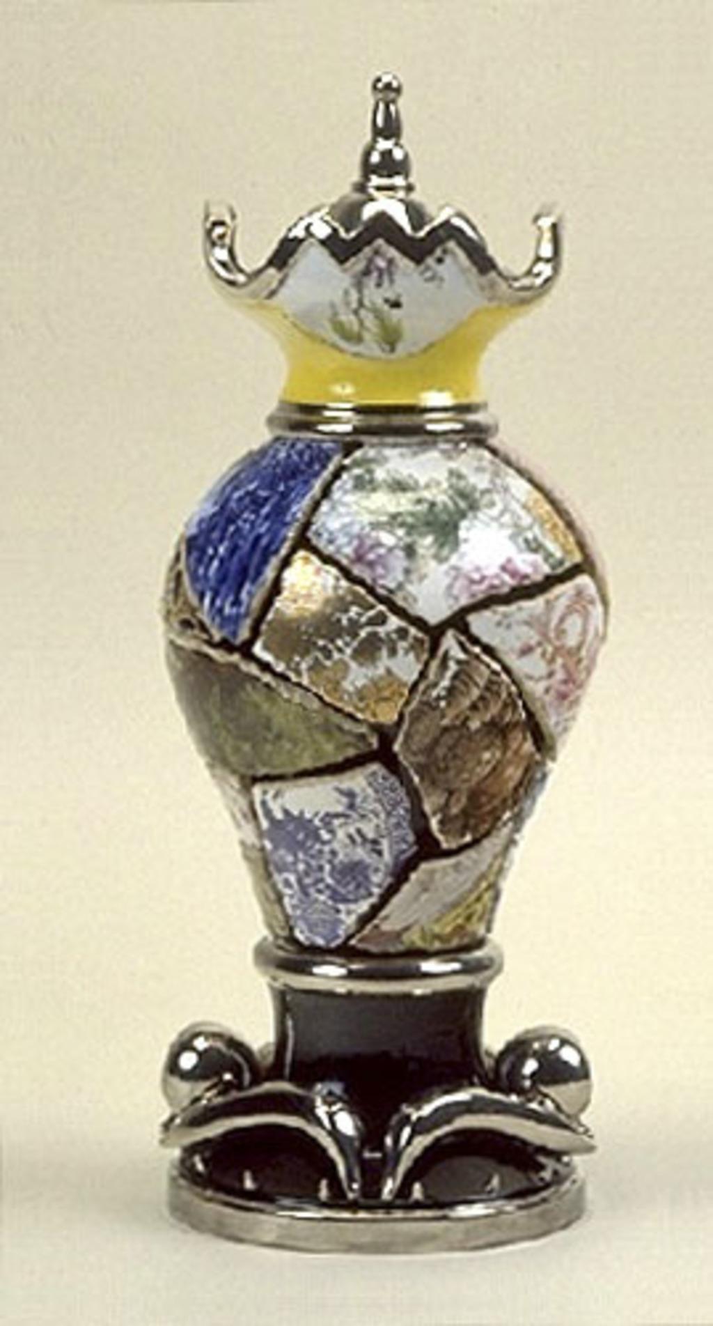 Vase à col jaune avec couvercle