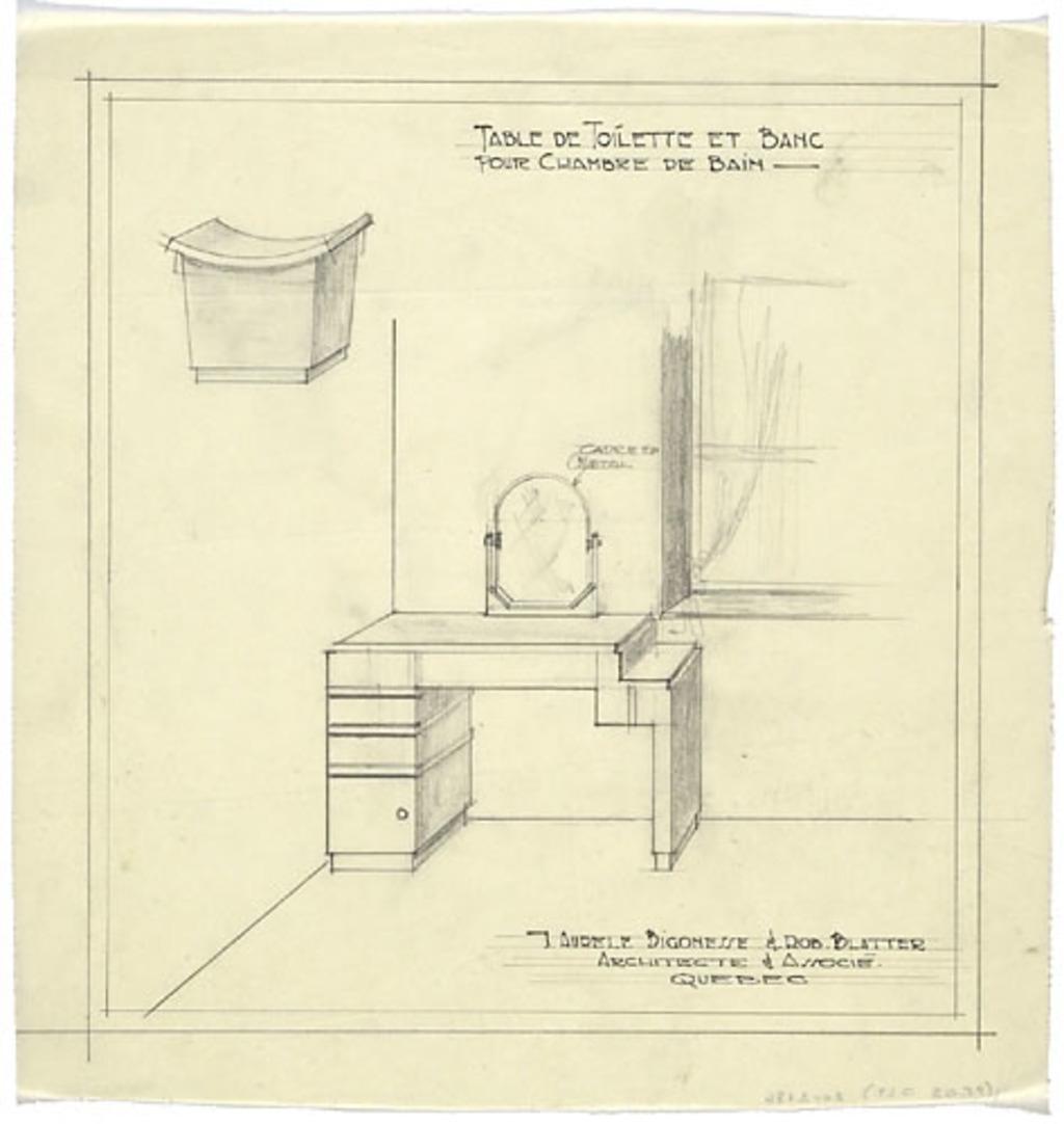 Dessin Salle De Bain dessin en perspective de la table de toilette et du banc de