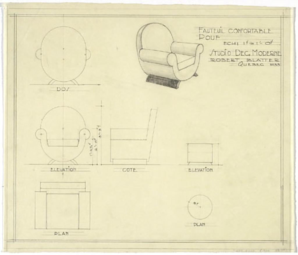 Dessin technique d'un fauteuil et d'un pouf