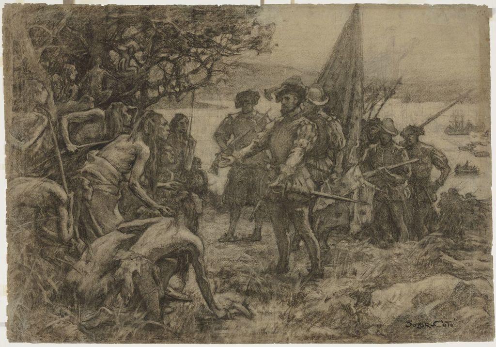 Étude pour « Jacques Cartier rencontre les Indiens à Stadaconé, 1535 »