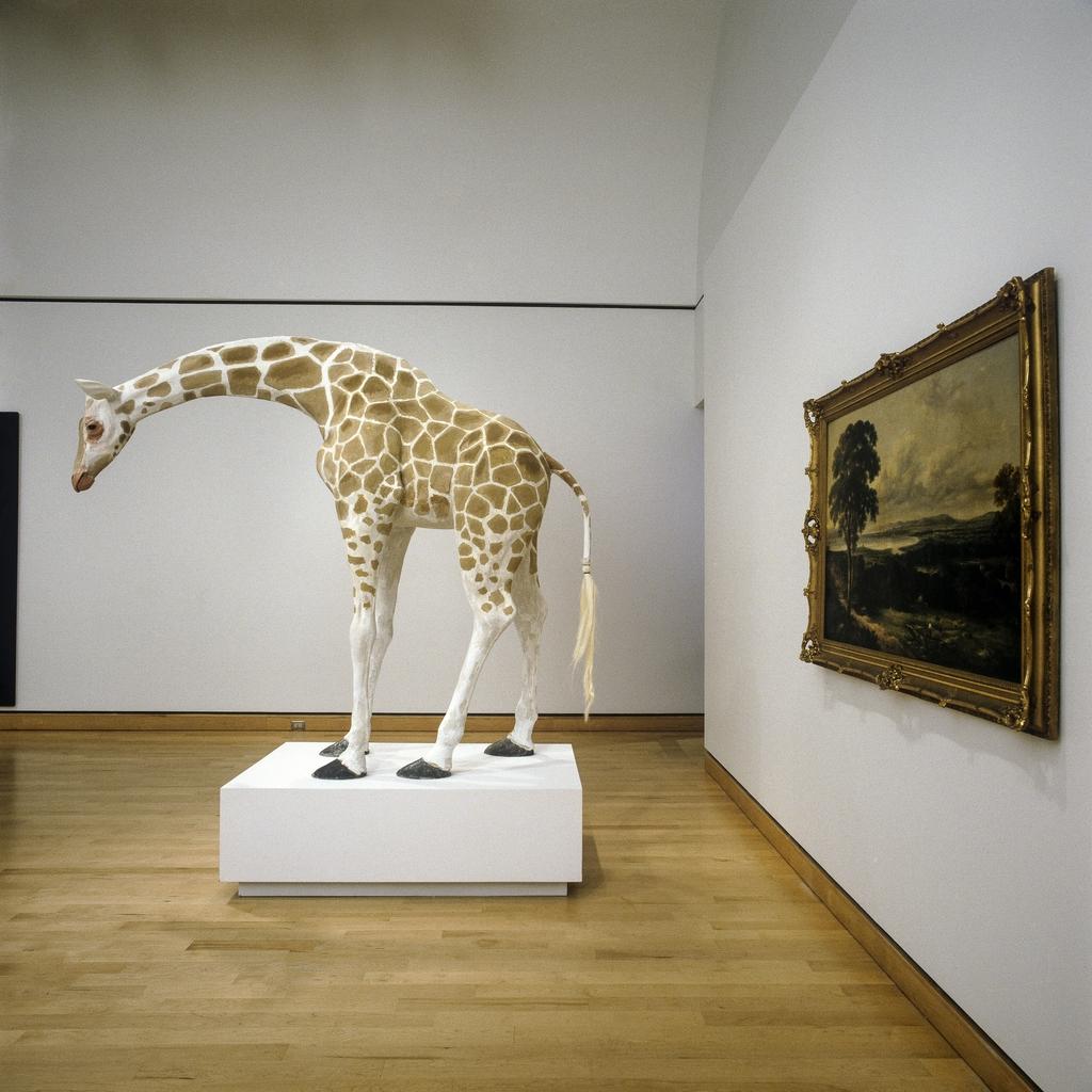 Modèle de la « Girafe nubienne » avec paysage. D'après Jacques-Laurent Agasse, 1827