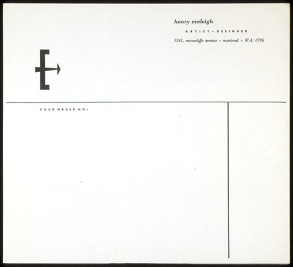 Papier en-tête de Henry Eveleigh