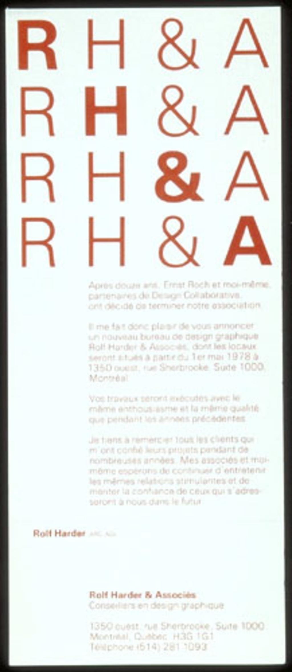 Avis de dissolution pour Design Collaborative et carte d'affaire pour Rolf Harder & Associés