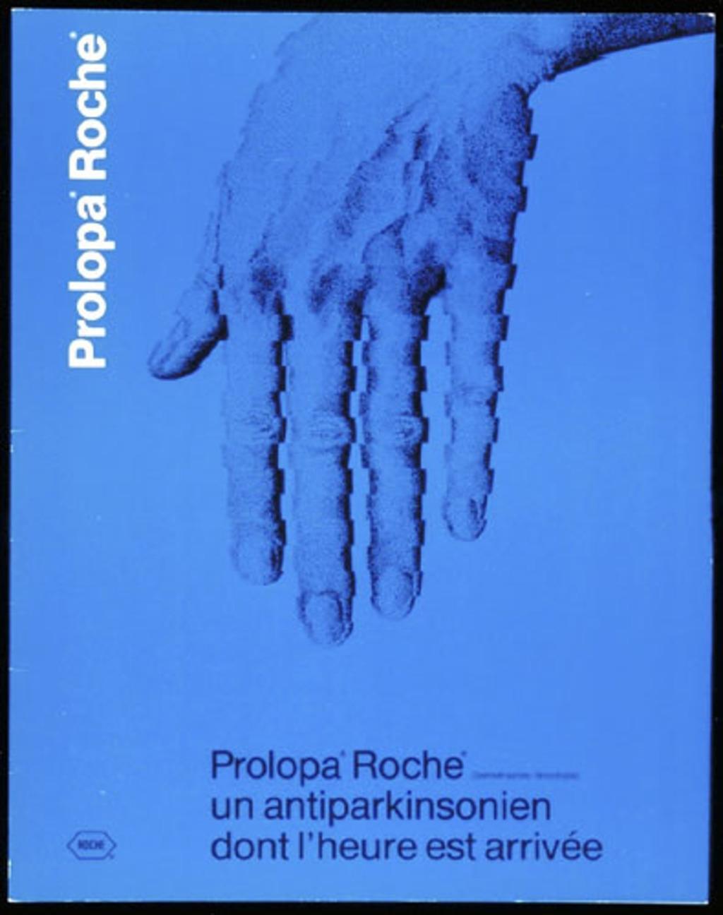 Dépliant « Prolopa Roche. Un antiparkinsonien dont l'heure est arrivée », pour Roche