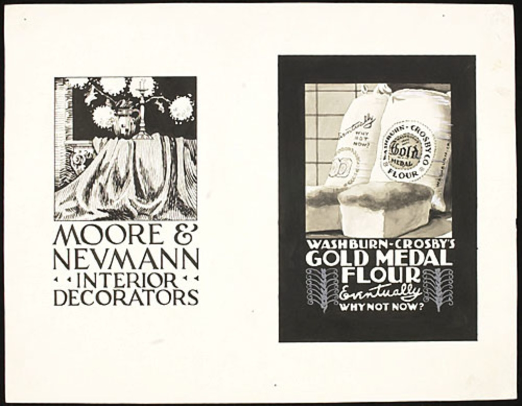 Illustration pour les affiches « Moore & Neumann Interior Decorators» et «Washburn-Crosby's Gold Medal Flour »