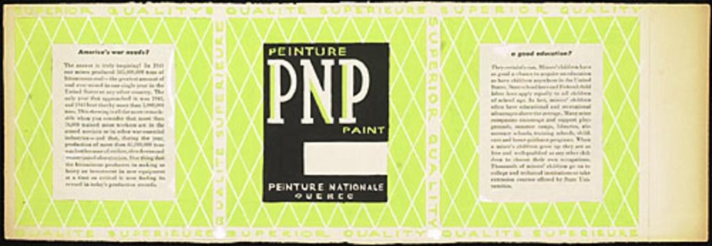 Proposition pour l'emballage « Peinture Nationale Ltée, peinture PNP »