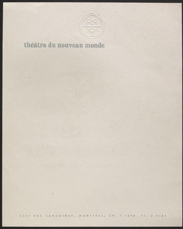 Papier en-tête du Théâtre du Nouveau Monde