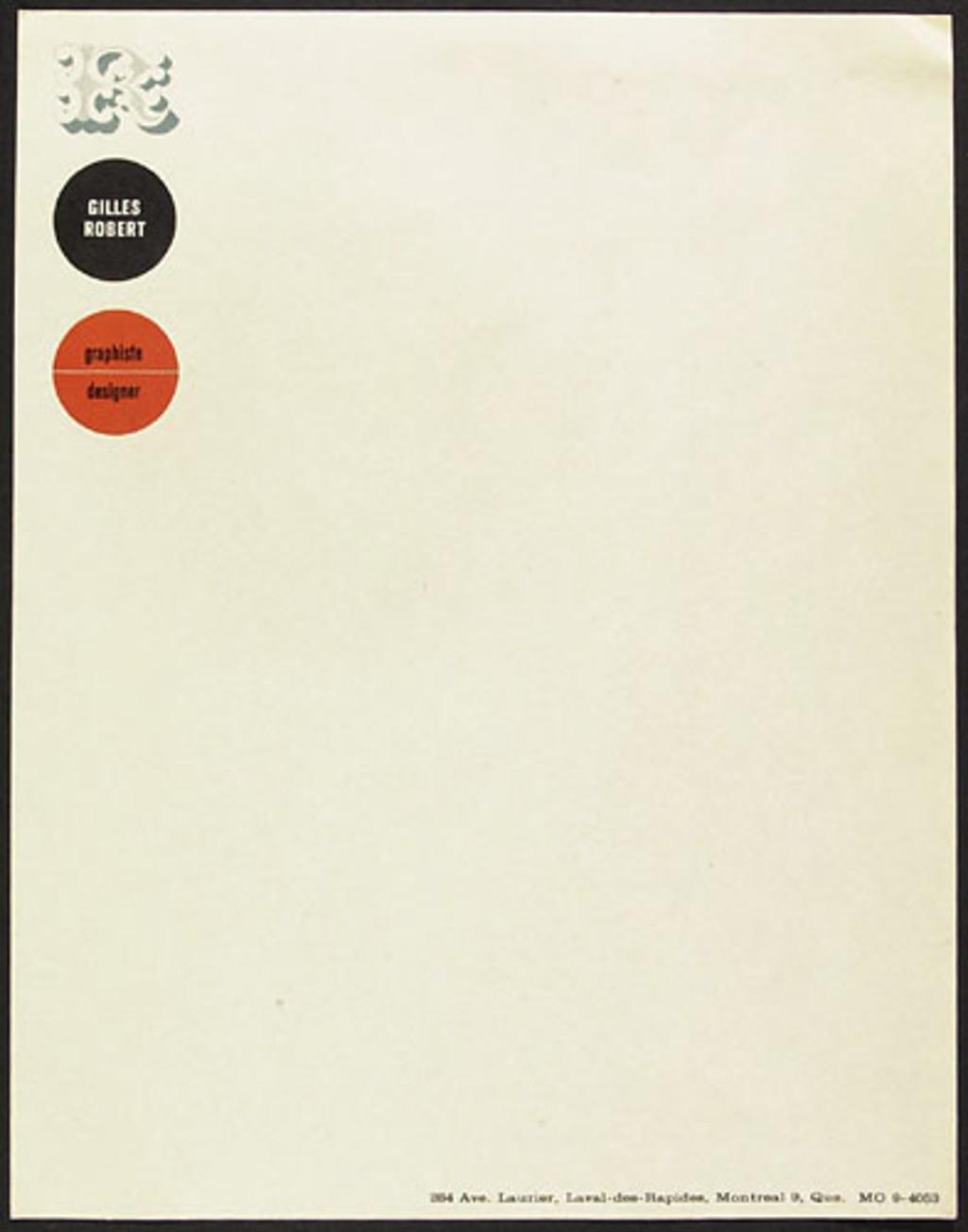 Papier en-tête pour Gilles Robert graphiste designer