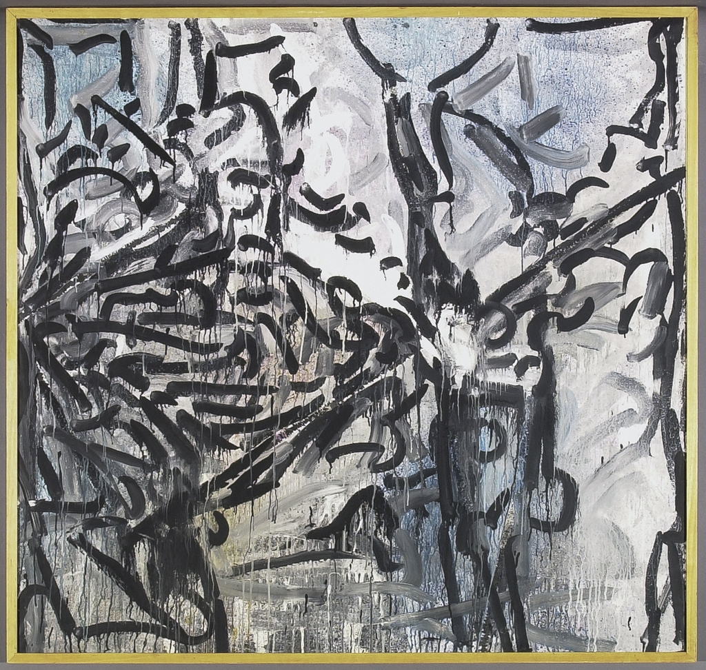 Fond gris et bleu strié de noir
