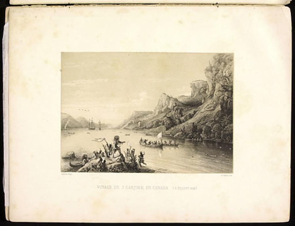 Voyage de Jacques Cartier en Canada, 3 juillet 1534, de l'album Canada. Dessins historiques