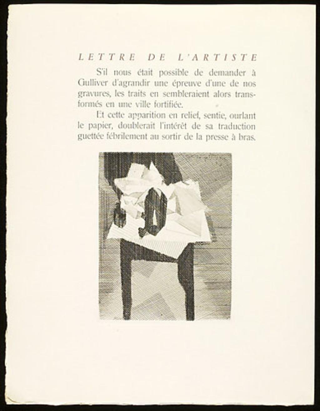 Table au tampon noir, du livre illustré «Éloge de Jacques Villon»