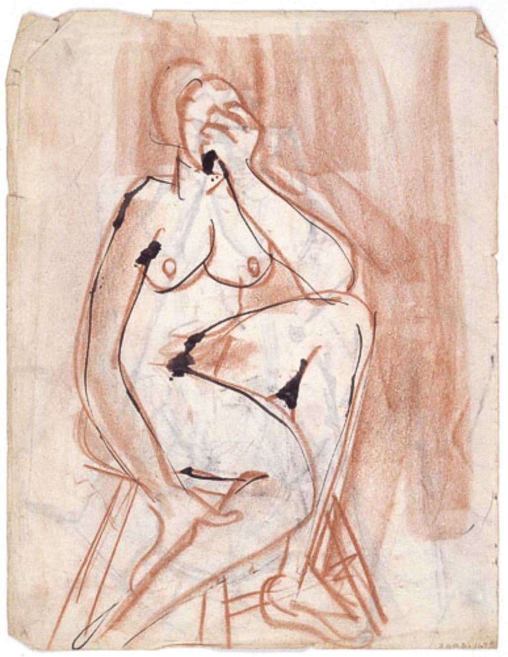 Étude de nu féminin assis sur un tabouret