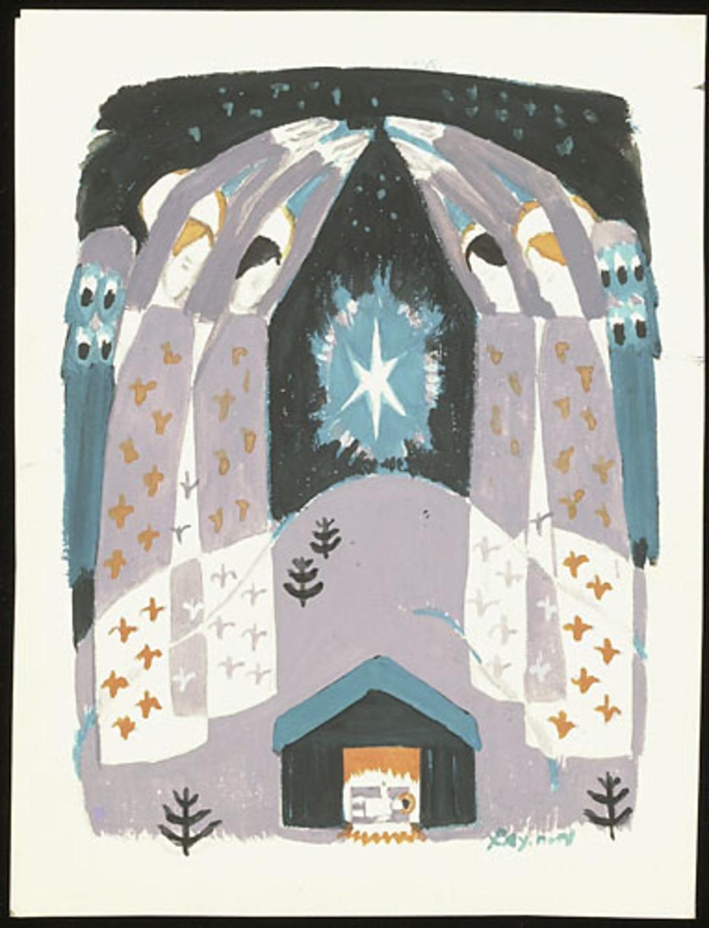 Dessin pour carte de Noël. Les Anges autour de l'étable