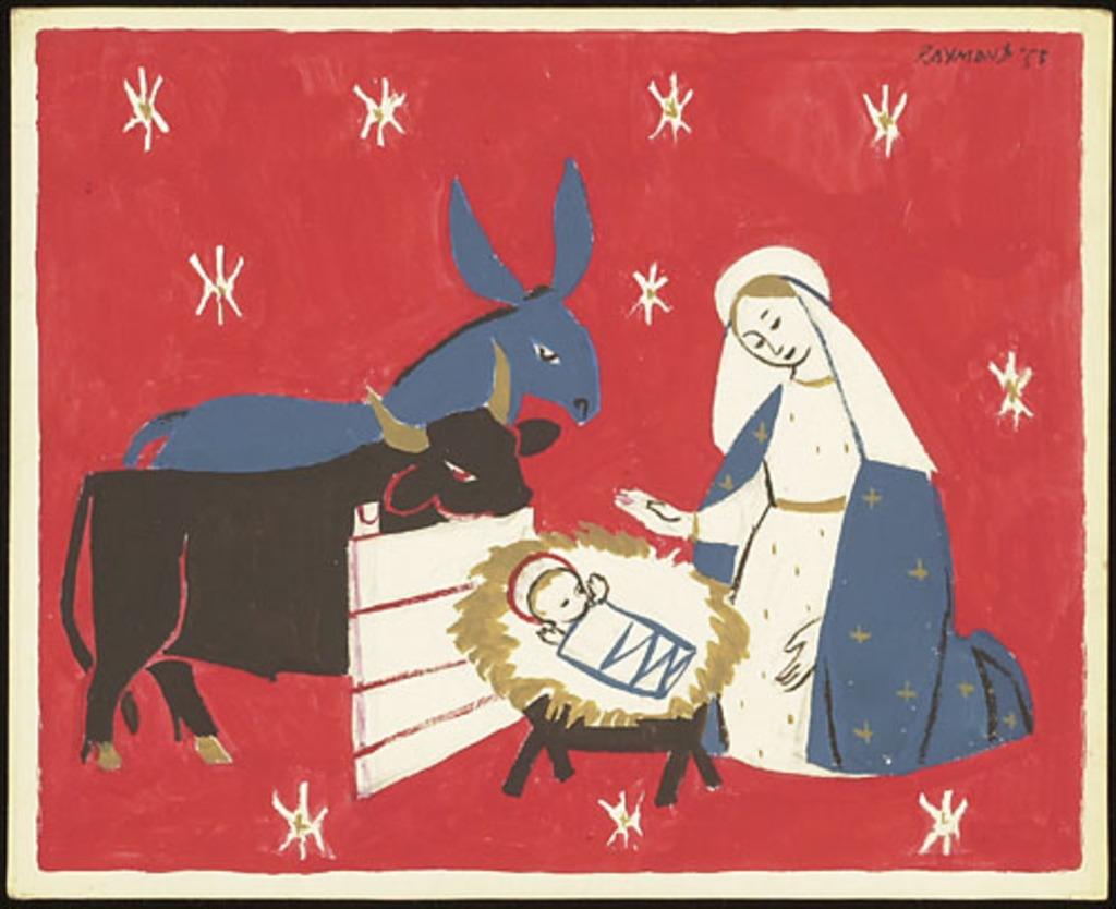 Dessin pour carte de Noël. Scène de Nativité