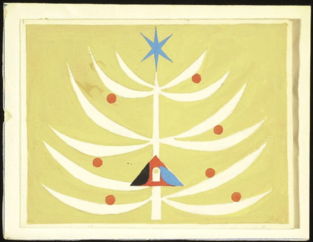 Maquette pour carte de Noël. Nativité à l'arbre de Noël