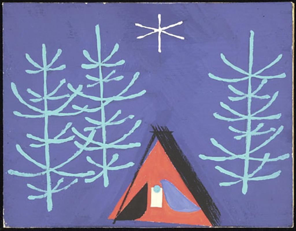 Maquette pour carte de Noël. Nativité au paysage