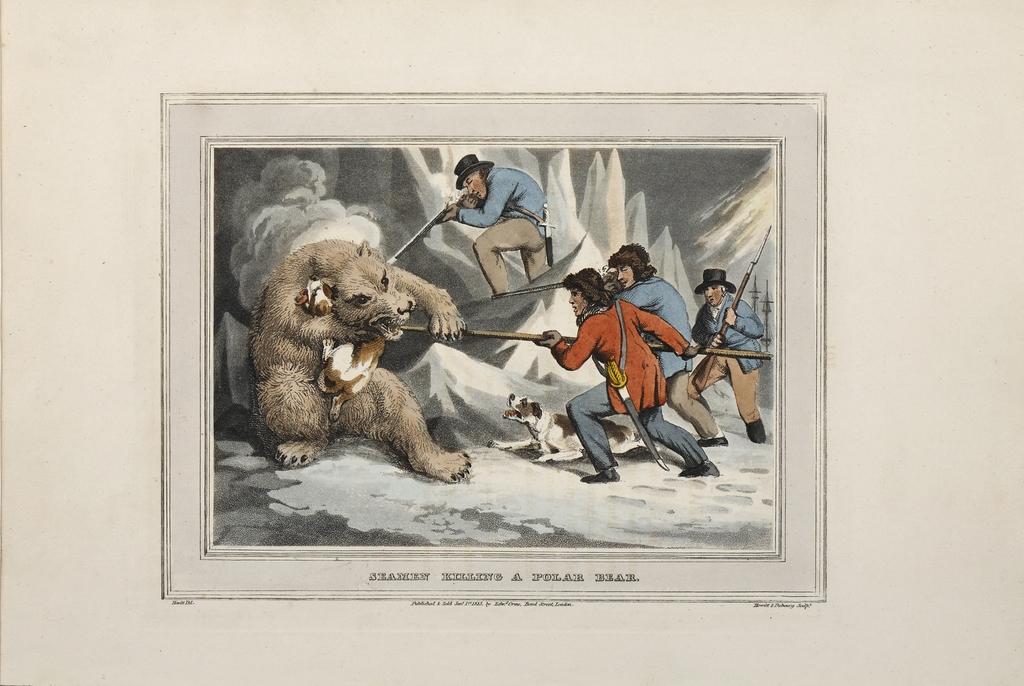 Marins tuant un ours polaire, extrait de l'ouvrage Foreign Field Sports de Samuel Howitt