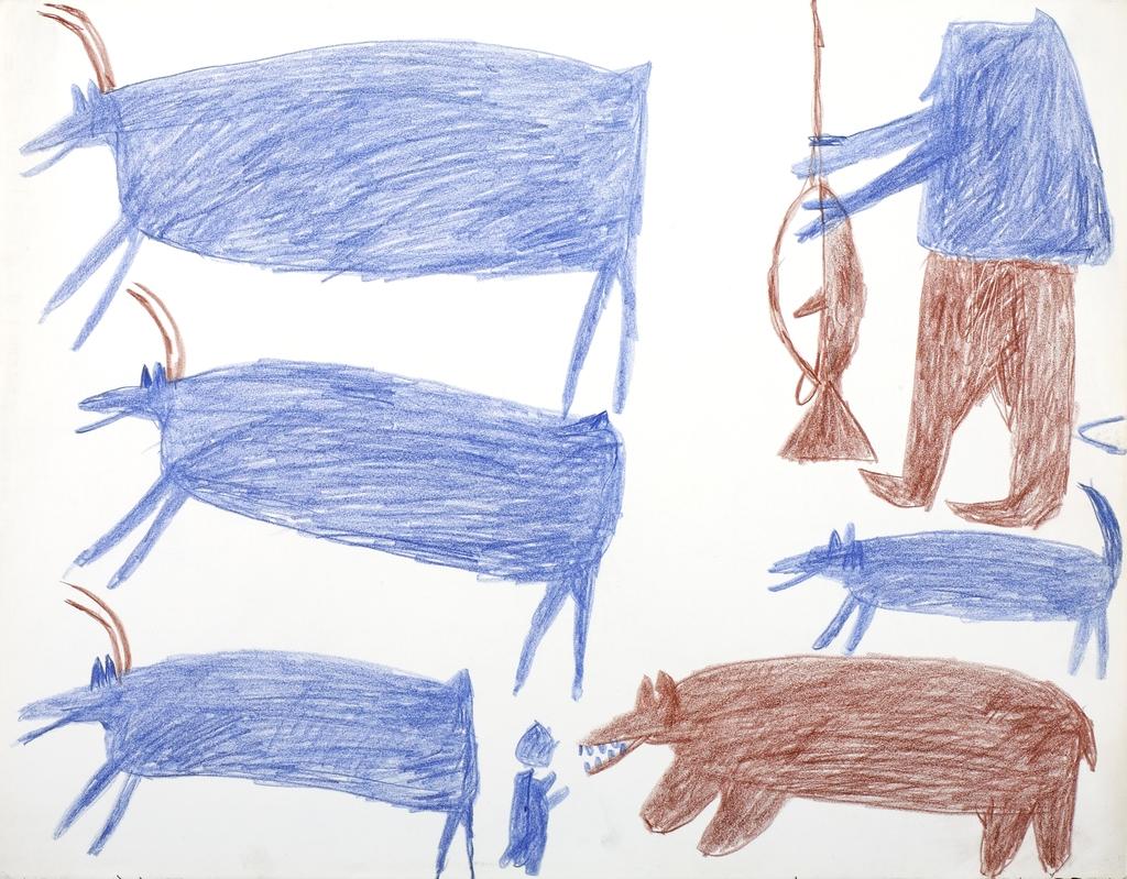 Pêcheur, deux chiens et un enfant derrière trois caribous