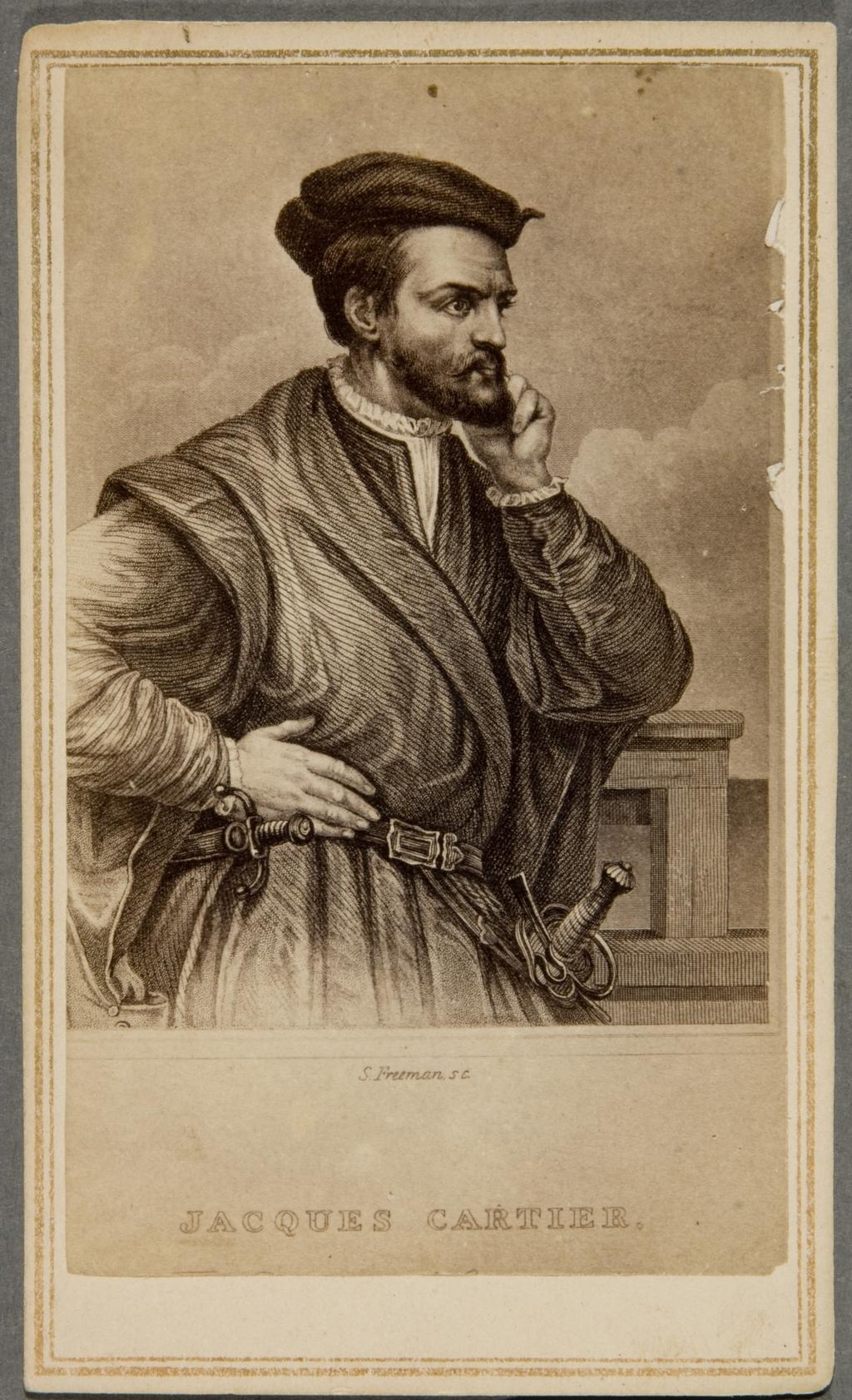 Jacques Cartier. Photographie d'une gravure de Samuel Freeman, d'après Théophile Hamel